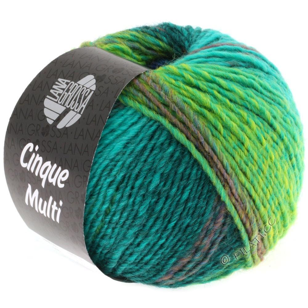 Lana Grossa CINQUE MULTI | 08-синий/бирюзовый/петроль/тёмно-зелёный/горчичный смешанный