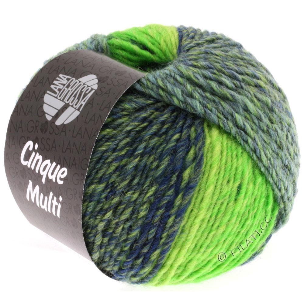 Lana Grossa CINQUE MULTI | 09-чёрно-синий/петроль/ярко-зелёный/зелёный смешанный