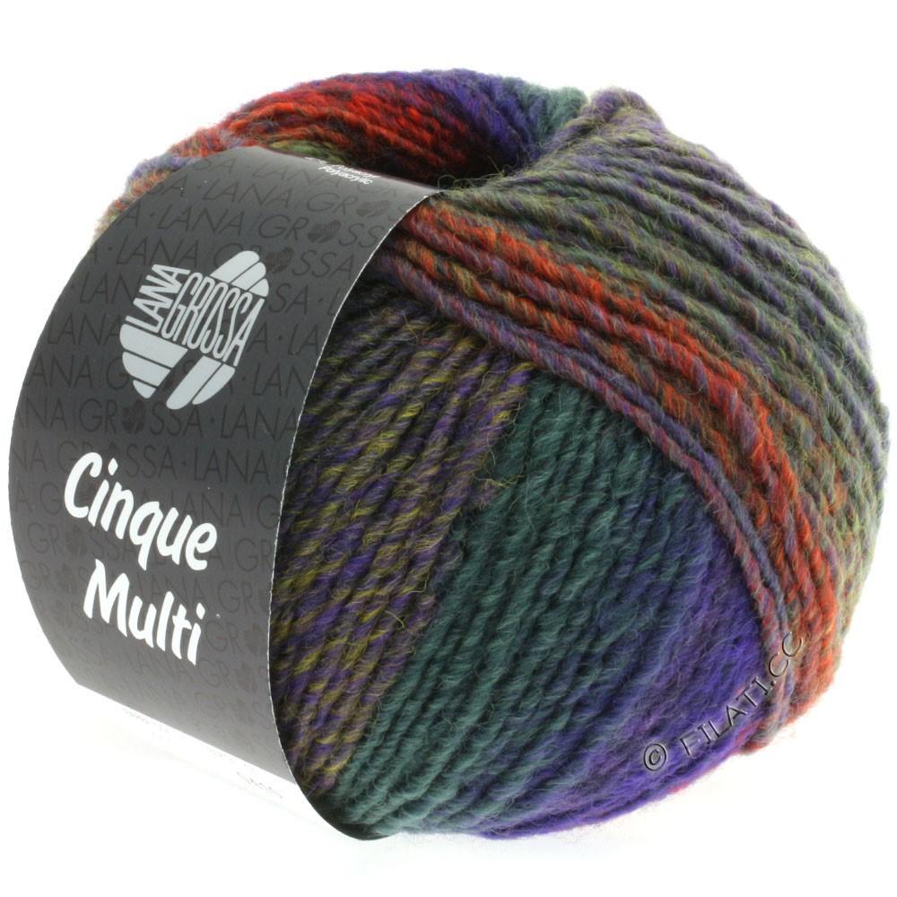 Lana Grossa CINQUE MULTI | 15-сине-фиолетовый/горчичный/светло-зелёный/пинк/красный/зелёный смешанный
