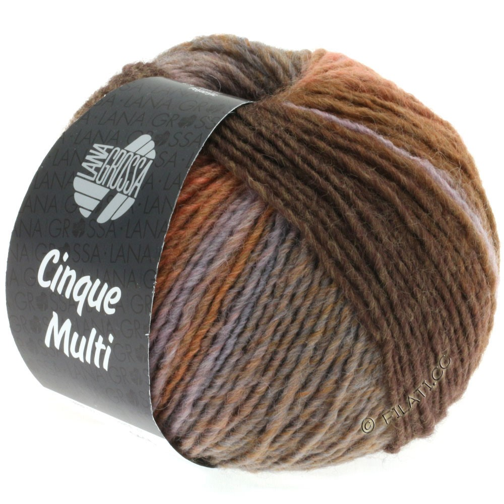 Lana Grossa CINQUE MULTI | 18-тёмно-коричневый/розовое дерево/серый/серо- бежевый/антрацитовый/сирень смешанный