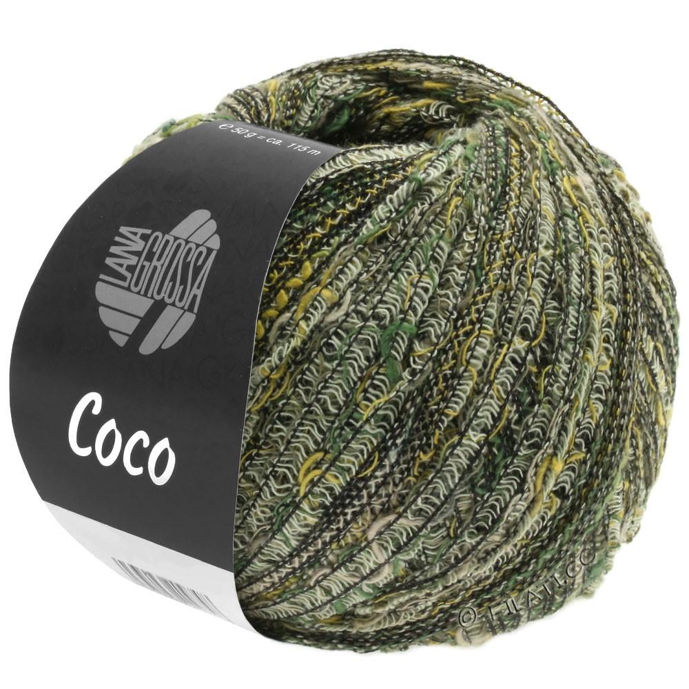 Lana Grossa COCO | 04-жёлтый/тёмно-зелёный/натуральный/серо-коричневый