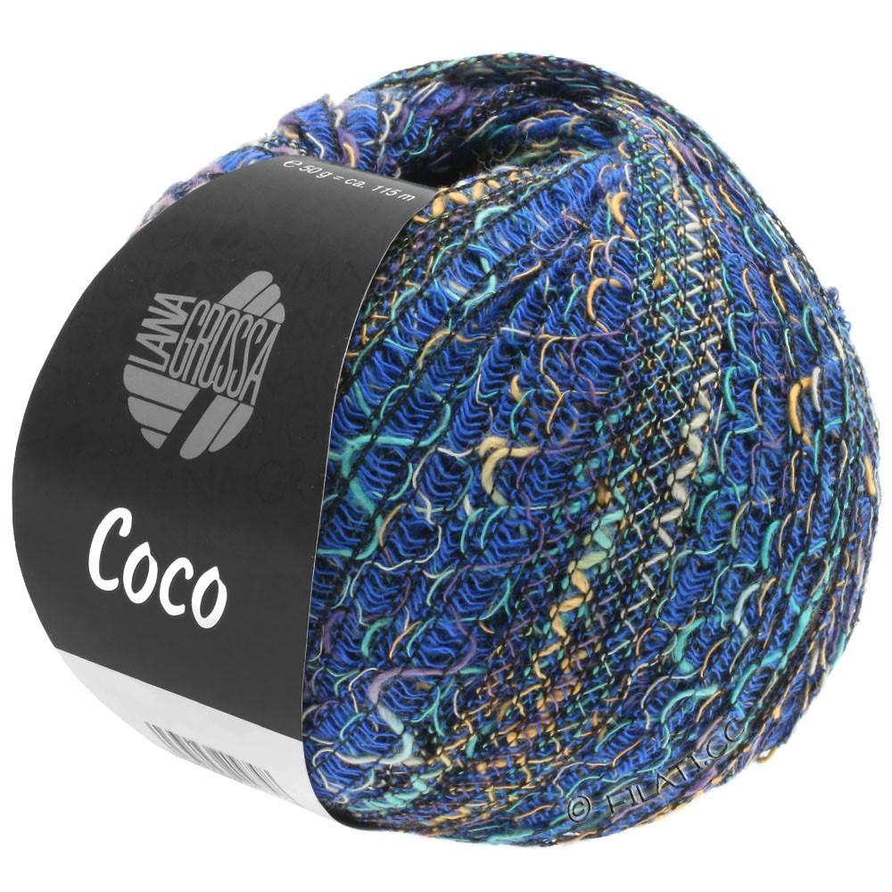 Lana Grossa COCO | 07-синий/светло-серый/бирюзовый/пурпурный/песок