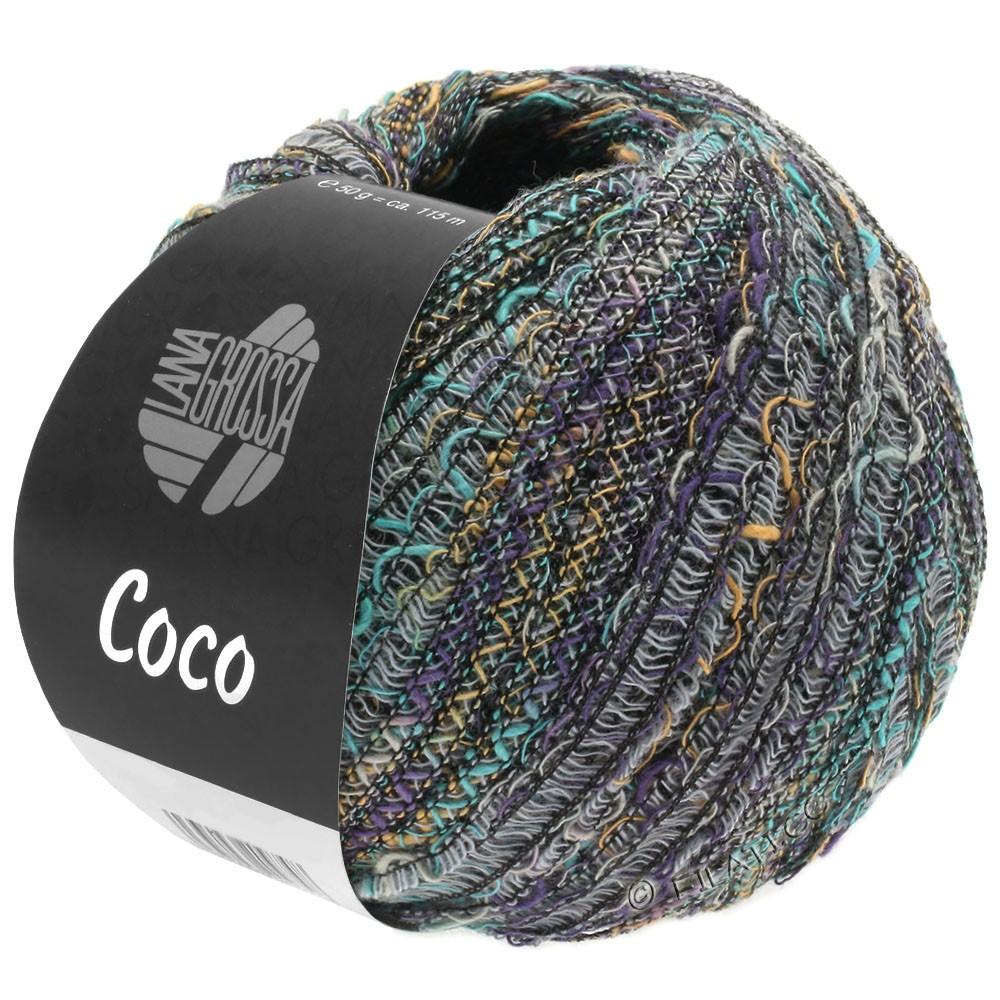 Lana Grossa COCO | 09-светло-серый/бирюзовый/фиолетовый/легко коричневый