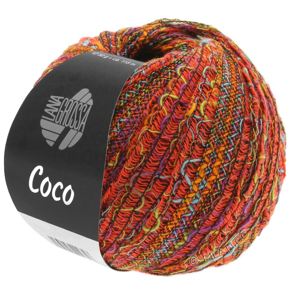 Lana Grossa COCO | 11-оранжевый/бирюзовый/фисташковый/фиолетовый