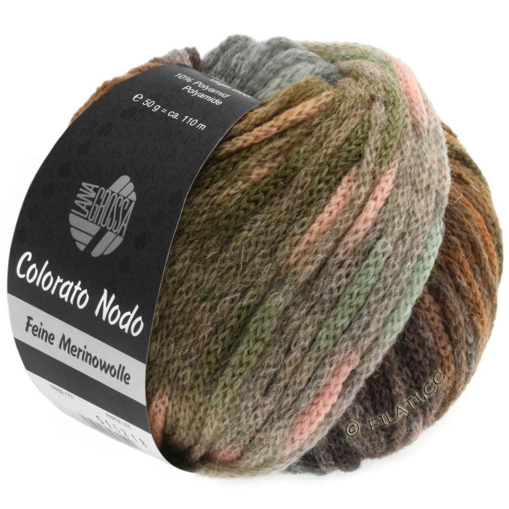 Lana Grossa COLORATO NODO | 107-хаки/ореховый цвет/мята/розовый/серо-зеленый