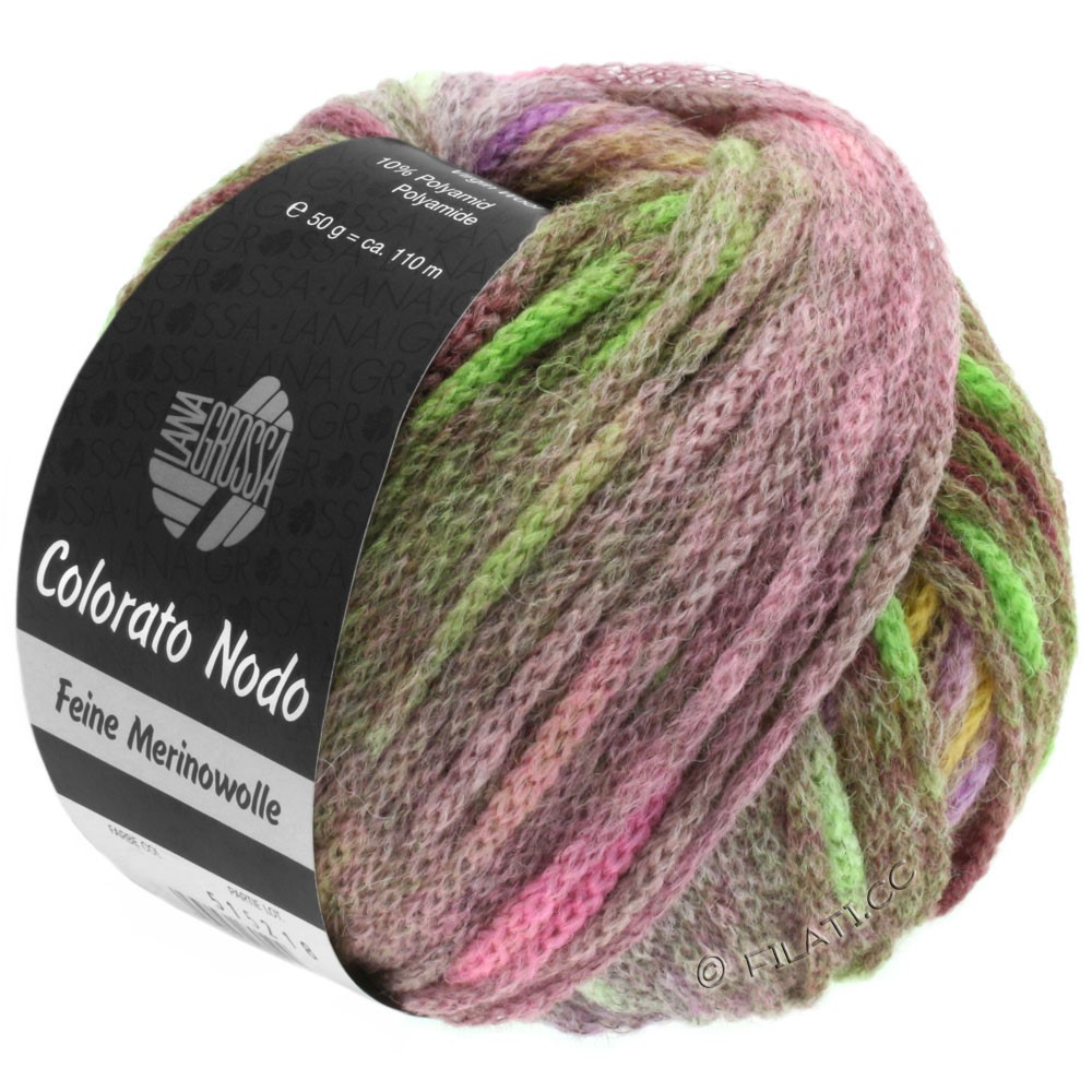 Lana Grossa COLORATO NODO | 113-розовый/горчично-желтый/бледно-зелёный/персик/пинк/пурпурный