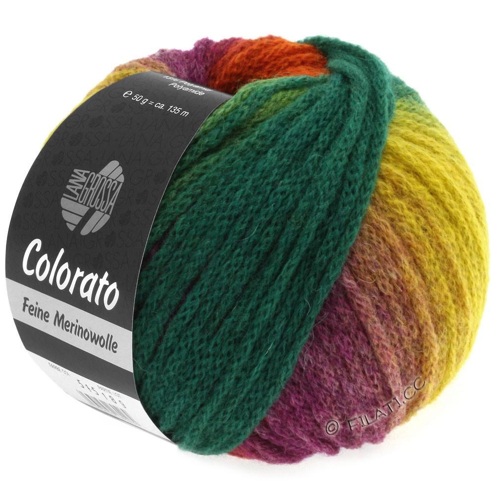Lana Grossa COLORATO | 001-жёлтый/светло-зелёный/зелёный/бирюзовый/серо-зеленый