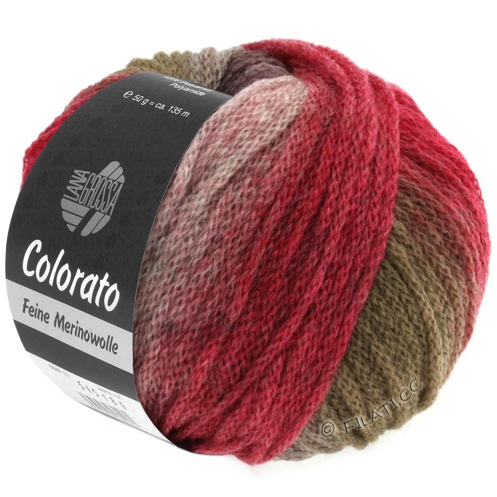 Lana Grossa COLORATO | 004-зелёный/серо-коричневый/ежевика/бургунд/тёмно-красный