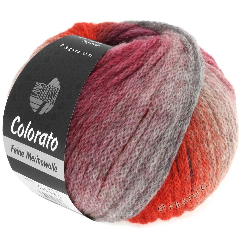 Lana Grossa COLORATO | 010-светло-серый/тёмно-серый/лососевый/красное вино/серо-красный