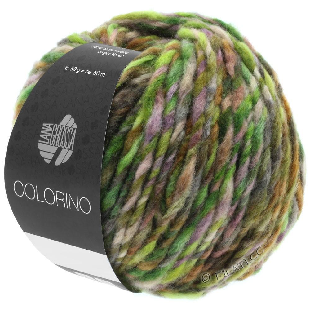 Lana Grossa COLORINO | 08-зелёный/тёмно-коричневый/лимон/петроль