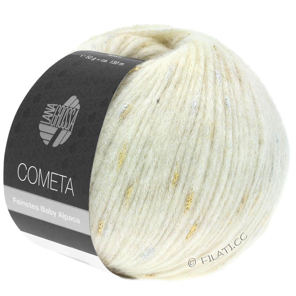 Lana Grossa COMETA | 001-чисто-белый/золотой/серебряный