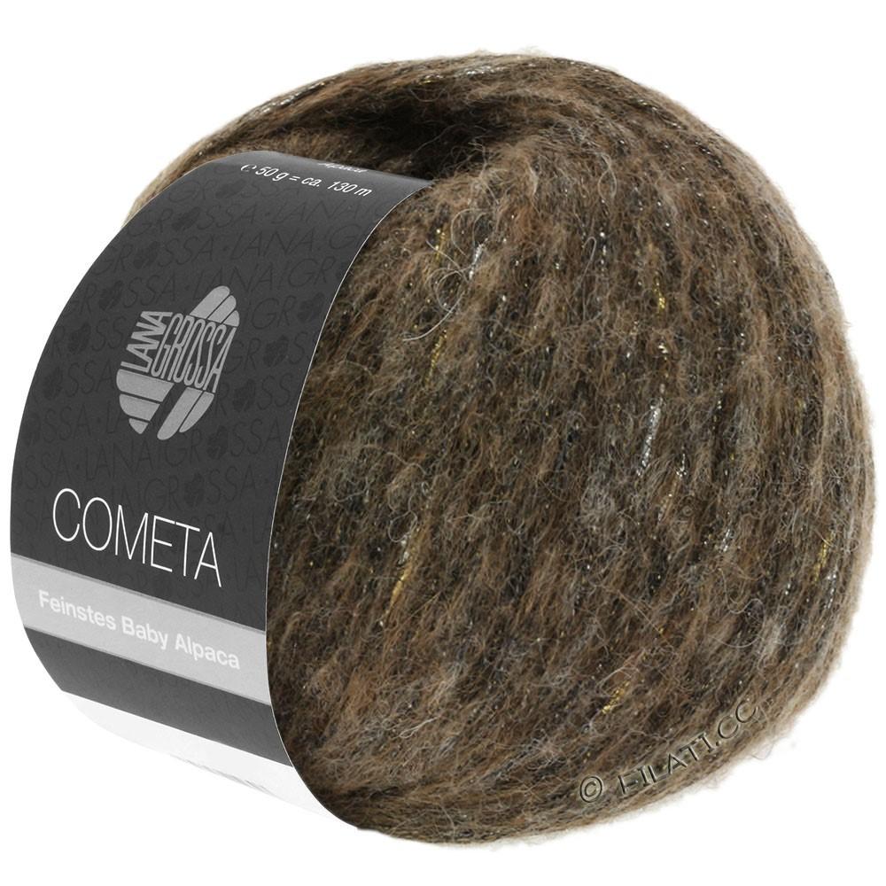 Lana Grossa COMETA | 003-тёмно-коричневый/золотой/серебряный