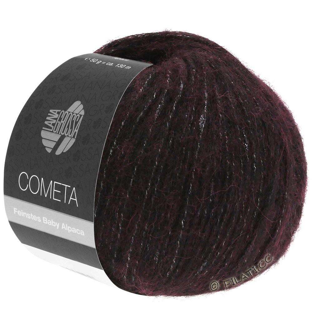 Lana Grossa COMETA | 006-чёрно-красный/серебряный