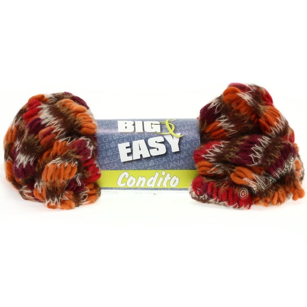 Lana Grossa CONDITO 150g (Big & Easy) | 08-оранжевый/красный/бордо/натуральный/золотисто-коричневый/кофе мокко
