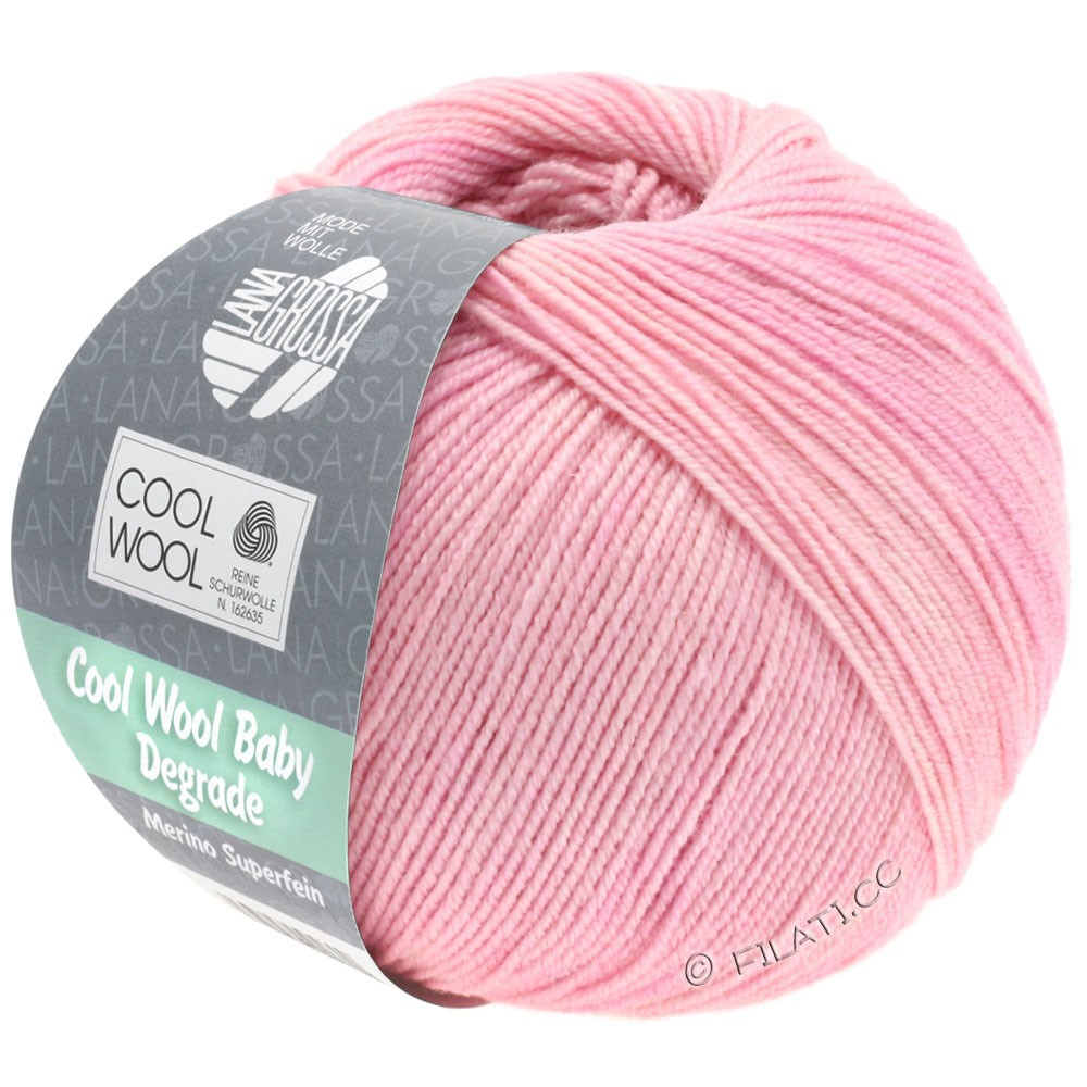Lana Grossa COOL WOOL Baby Uni/Degradé | 501-мягко-розовый/розовый/сирень
