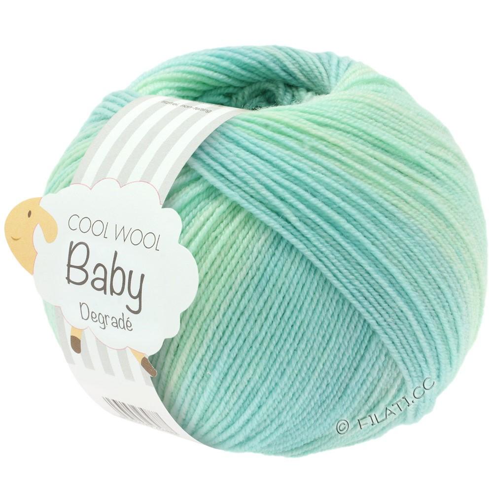 Lana Grossa COOL WOOL Baby Uni/Degradé | 502-бело-зеленый/пастельный бирюзовый/светло-зеленый/синяя пастель