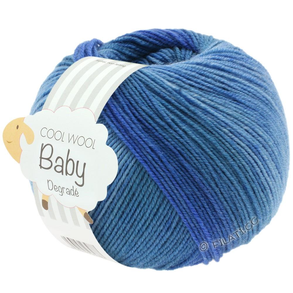 Lana Grossa COOL WOOL Baby Uni/Degradé | 504-джинс/средне-синий/тёмно-синий