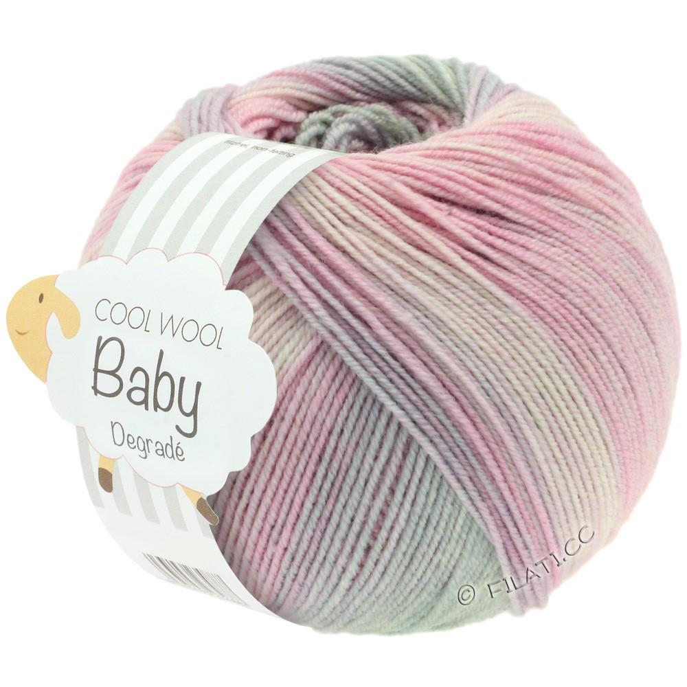 Lana Grossa COOL WOOL Baby Uni/Degradé | 508-мягко-розовый/гвоздика/светло-серый