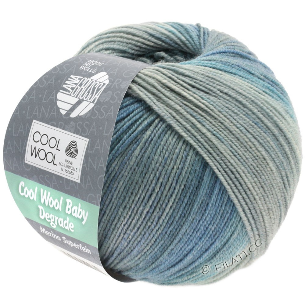 Lana Grossa COOL WOOL Baby Uni/Degradé | 509-светло-серый/средне-серый/серо-голубой