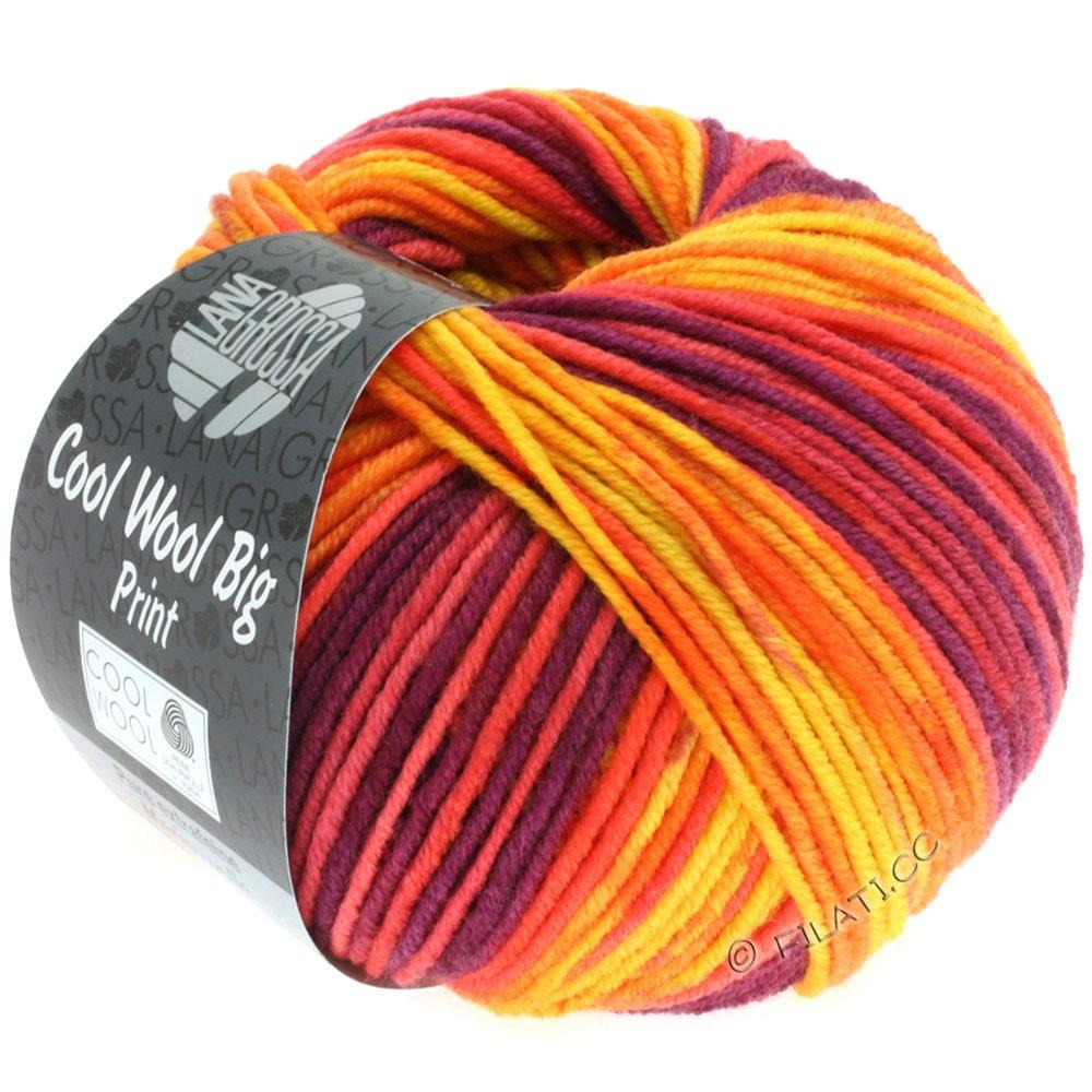 Lana Grossa COOL WOOL Big Uni/Melange/Print уни/меланж/принт | 3007-жёлтый/оранжевый/красный/красная фиалка