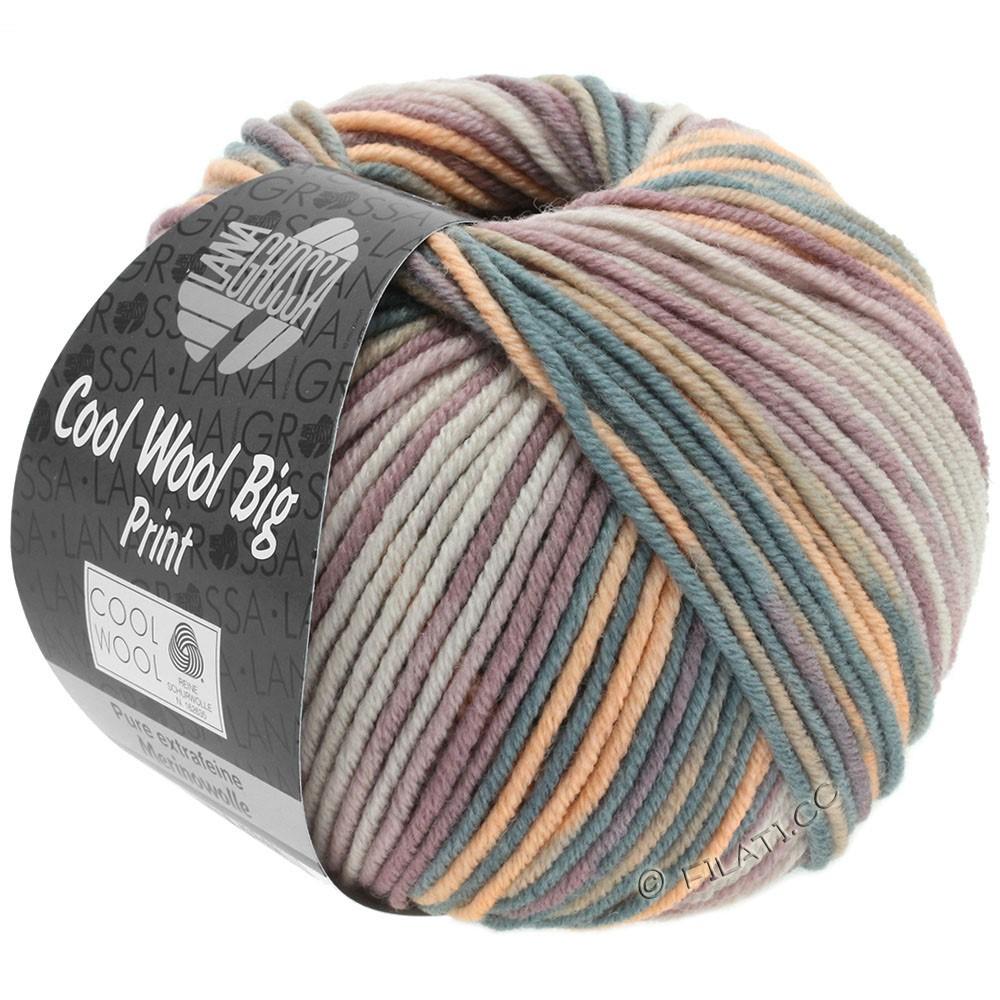 Lana Grossa COOL WOOL Big Uni/Melange/Print уни/меланж/принт | 3009-серо- бежевый/серо-коричневый/ветхо-розовый/персик/тёмно-серый