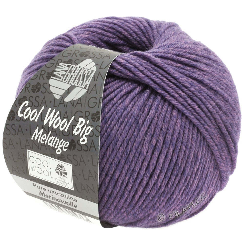 Lana Grossa COOL WOOL Big Uni/Melange/Print уни/меланж/принт | 0335-сирень/тёмно-фиолетовый смешанный
