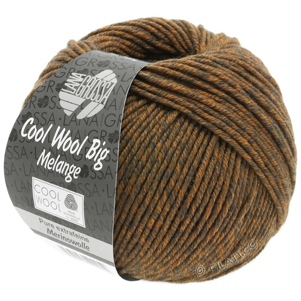 Lana Grossa COOL WOOL Big Uni/Melange/Print уни/меланж/принт | 0338-серо-коричневый/оранжевый смешанный