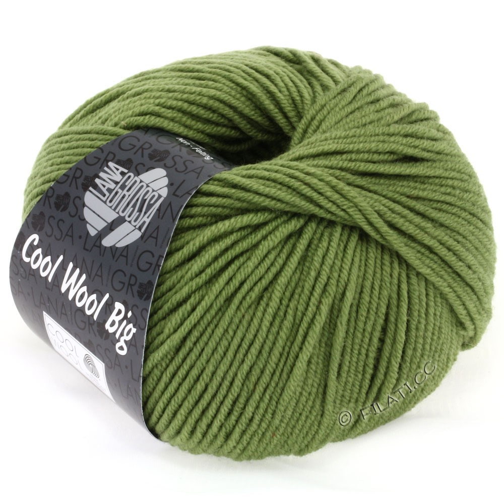 Lana Grossa COOL WOOL Big Uni/Melange/Print уни/меланж/принт | 0909-оливково-зелёный