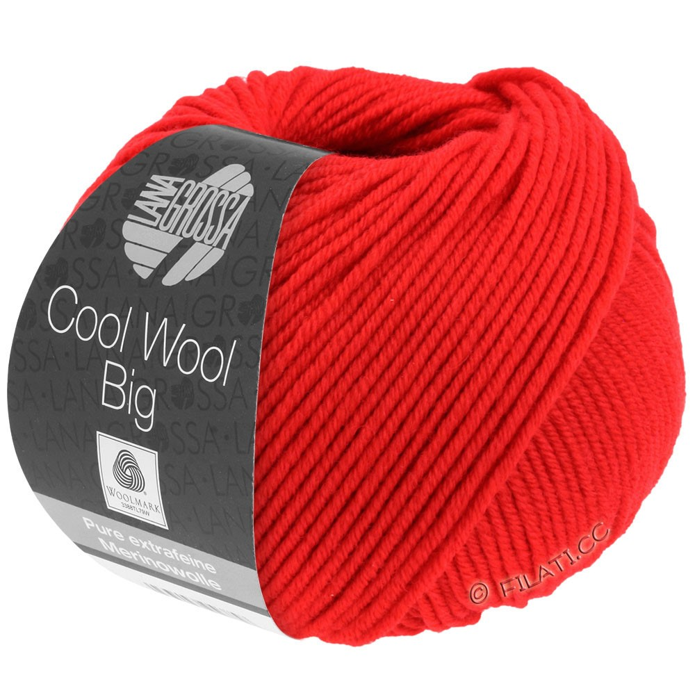 Lana Grossa COOL WOOL Big Uni/Melange/Print уни/меланж/принт | 0923-светящийся красный