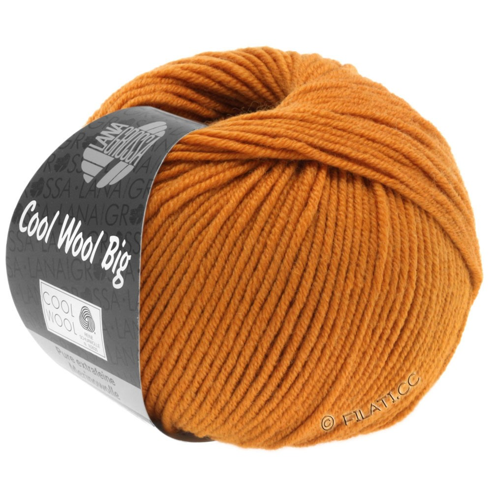 Lana Grossa COOL WOOL Big Uni/Melange/Print уни/меланж/принт | 0955-оранжево-коричневый