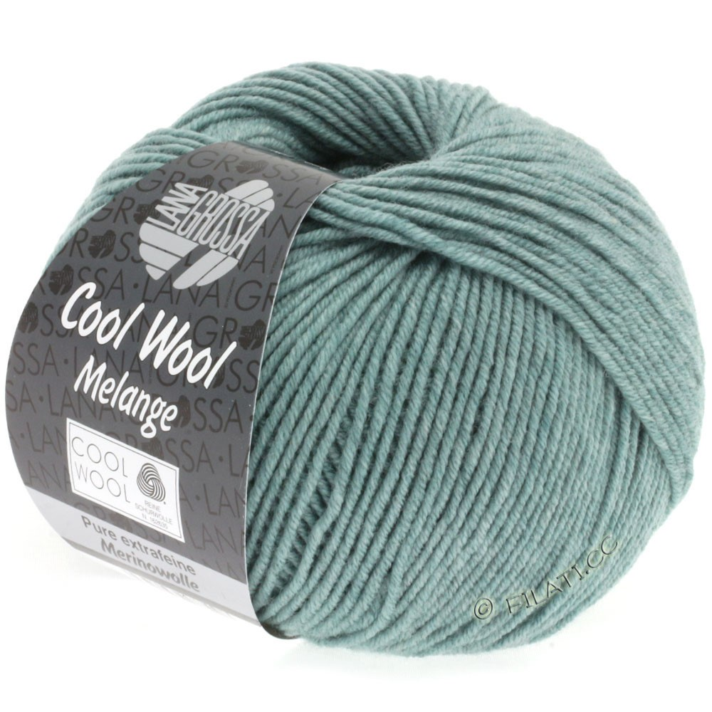 Lana Grossa COOL WOOL   Uni/Melange/Neon | 0132-серо-зеленый меланжевый