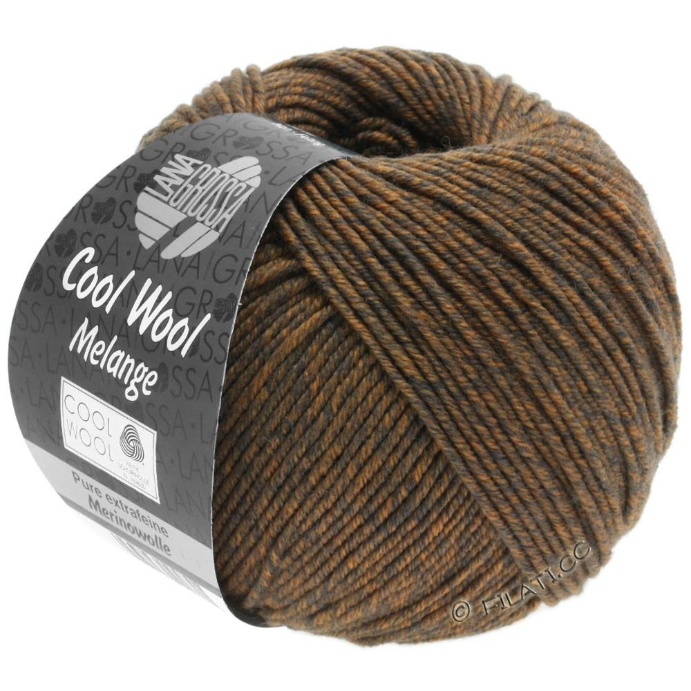 Lana Grossa COOL WOOL   Uni/Melange/Neon | 0138-серо-коричневый/оранжевый меланжевый