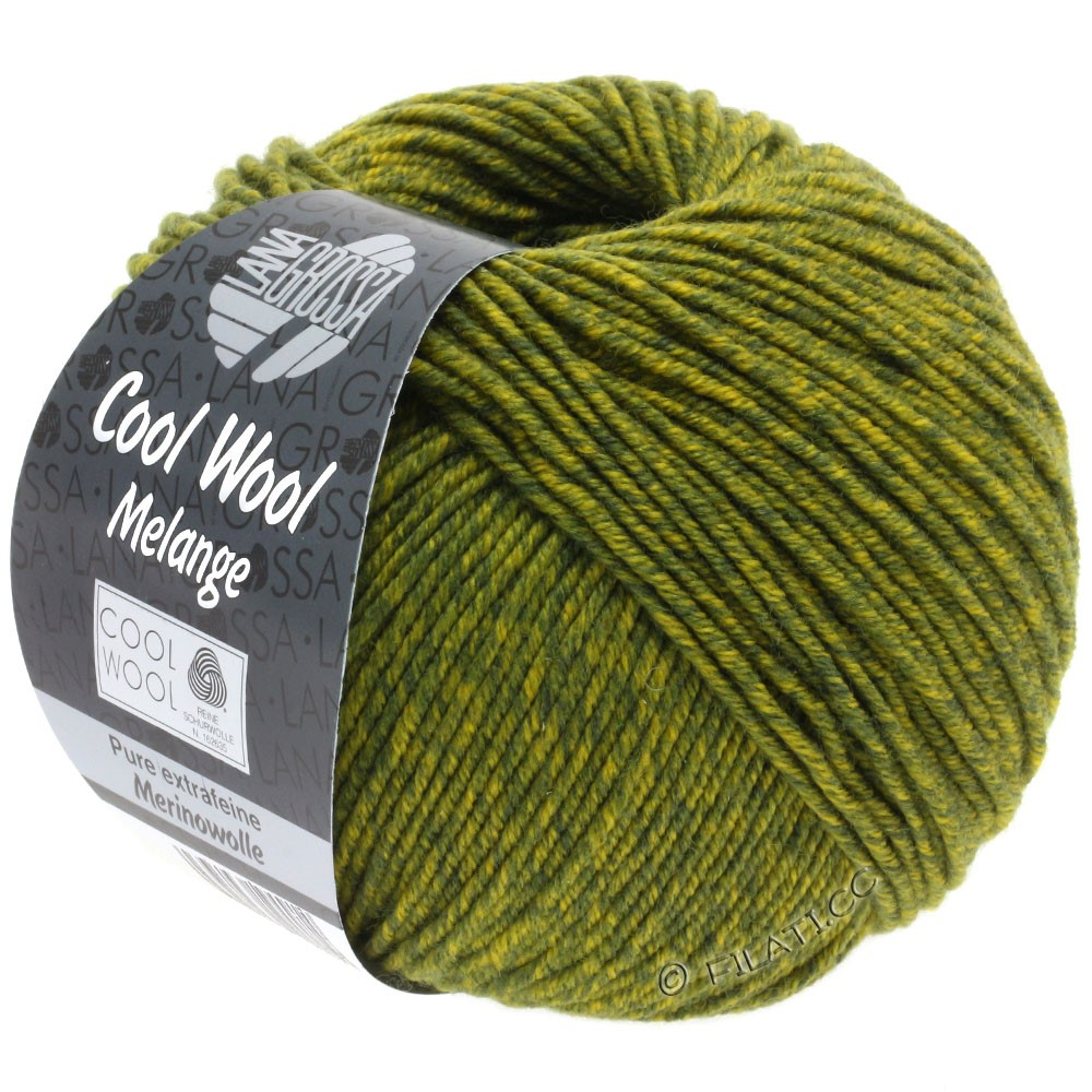 Lana Grossa COOL WOOL   Uni/Melange/Neon | 0140-тёмно-оливковый/оливково-желтый меланжевый