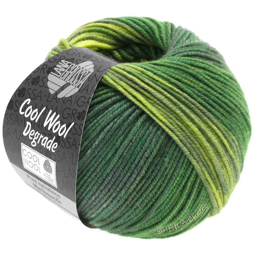 Lana Grossa COOL WOOL  Uni/Melange/Print/Degradé/Neon | 6011-жёлто-зеленый/тёмно-зелёный/серо-зеленый