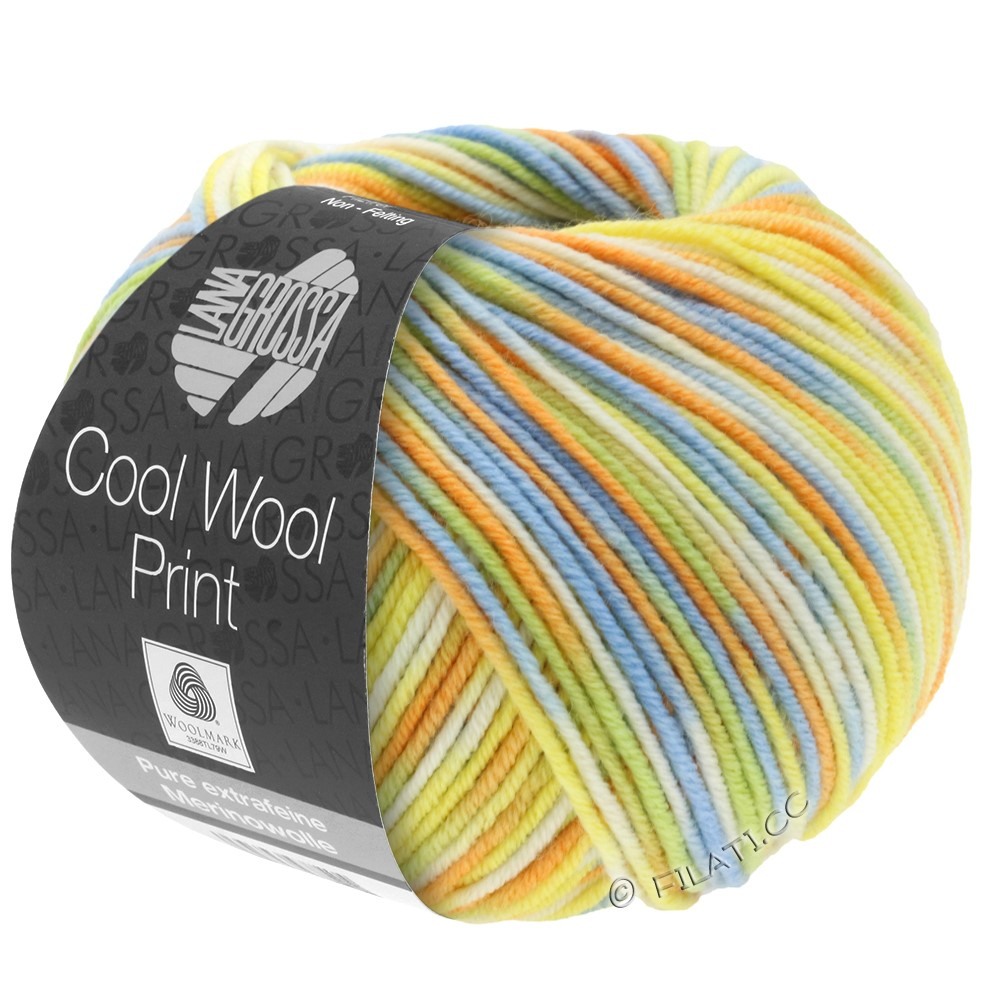 Lana Grossa COOL WOOL  Uni/Melange/Print/Degradé/Neon | 722-светло-зелёный/светло-голубой/жёлтый/оранжевый/цвет экрю