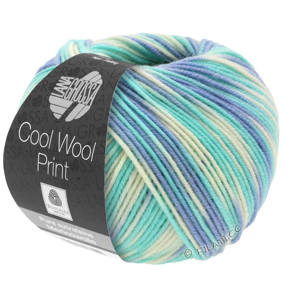 Lana Grossa COOL WOOL  Uni/Melange/Print/Degradé/Neon | 728-голубой/светло-бирюзовый/натуральный