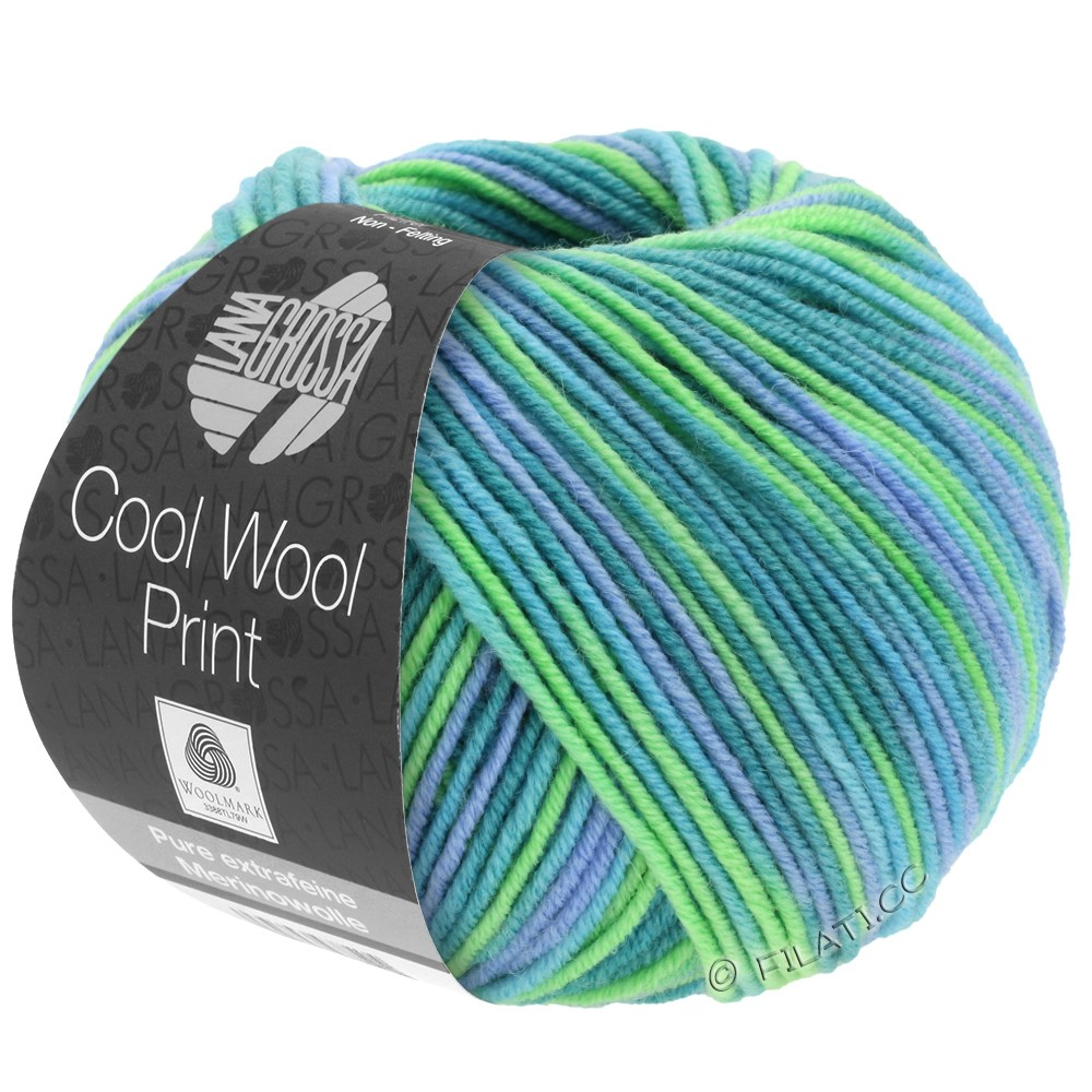 Lana Grossa COOL WOOL  Print | 757-бирюзовый/петроль/голубой/светло-зелёный