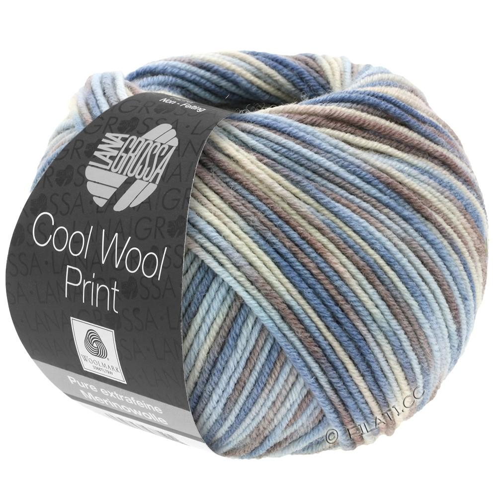 Lana Grossa COOL WOOL  Print | 763-светло-голубой/серо- бежевый/серо-коричневый/серо-голубой