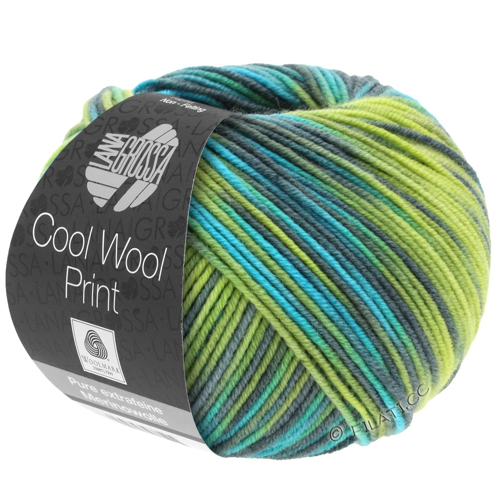 Lana Grossa COOL WOOL  Uni/Melange/Print/Degradé/Neon | 784-светло-зелёный/зелёное яблоко/петроль/бирюзовый