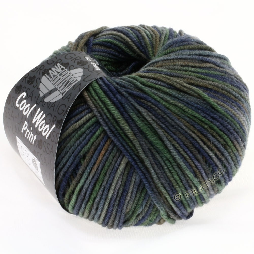 Lana Grossa COOL WOOL  Print | 789-синий/серо-зеленый/тёмно-серый/грязь
