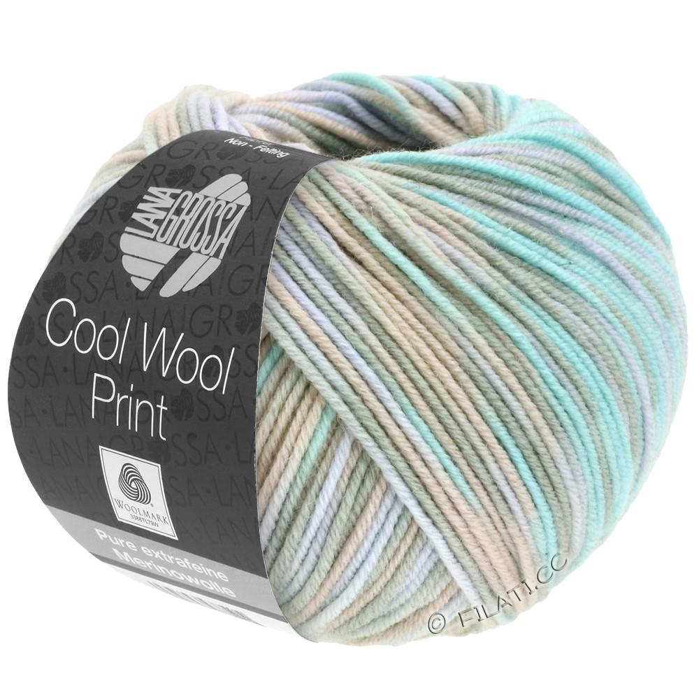 Lana Grossa COOL WOOL  Uni/Melange/Print/Degradé/Neon | 793-серо- бежевый/бежевый/мята/бледно-фиолетовый