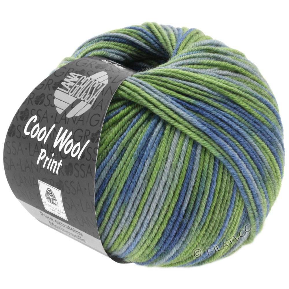 Lana Grossa COOL WOOL  Uni/Melange/Print/Degradé/Neon | 800-светло-зелёный/зелёный/серо-синий/зеленый серый