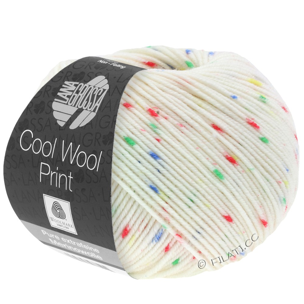Lana Grossa COOL WOOL  Print | 801-чисто-белый/красный/зелёный/синий/жёлтый