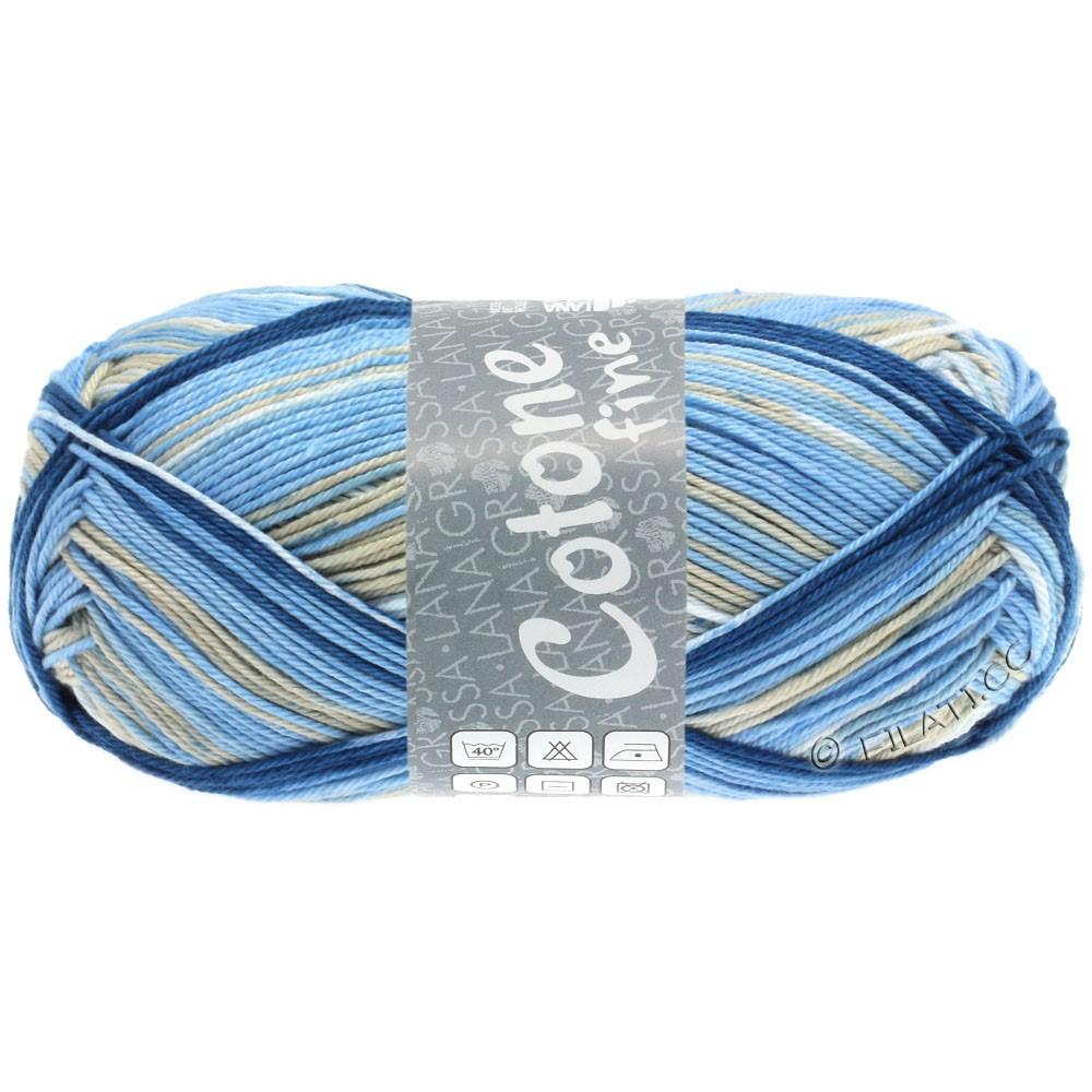 Lana Grossa COTONE FINE Print | 802-белый/светло-серый/светло-голубой/средний синий/морская