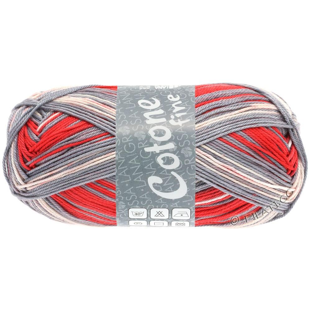 Lana Grossa COTONE FINE Print | 803-естественный/серый/клубничный/красный
