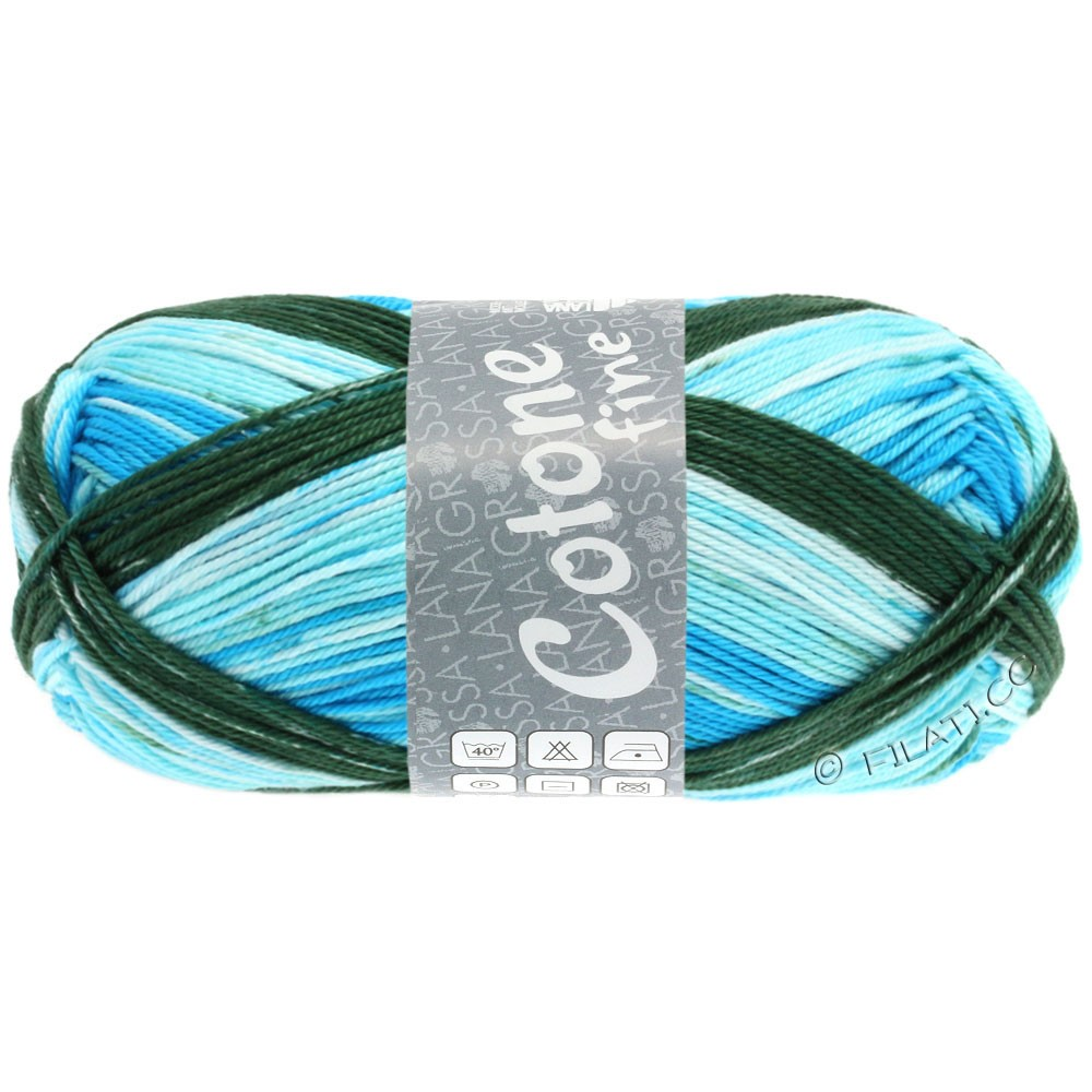 Lana Grossa COTONE FINE Print | 805-белый/светло-голубой/бирюзовый синий/темно-зеленый