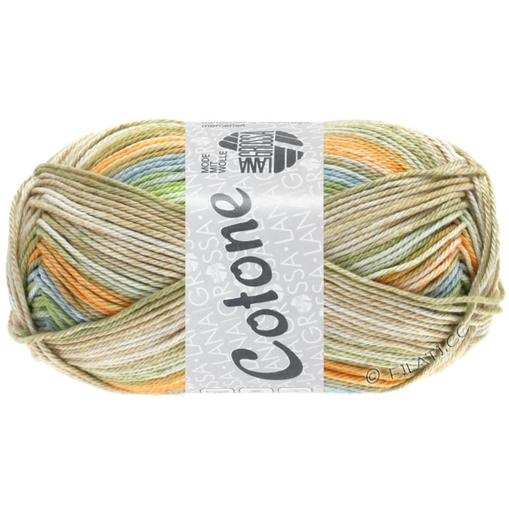 Lana Grossa COTONE  Print/Denim | 252-бледно-оранжевый/серо-синий/бежевый/мягко-зеленый/светлый цвет хаки