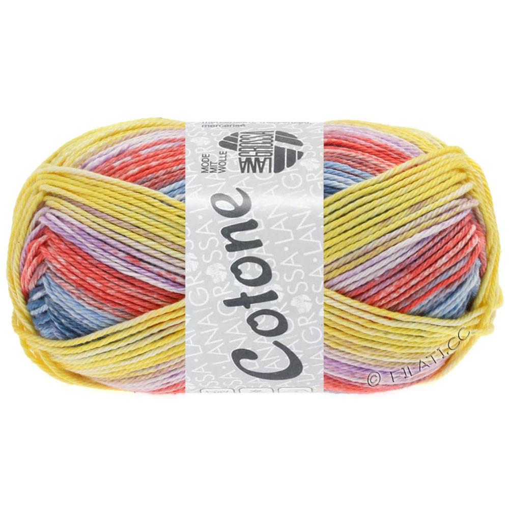Lana Grossa COTONE  Print/Denim | 256-жёлтый/джинс/сирень/светло-красный/светло-голубой