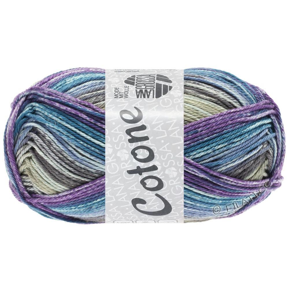 Lana Grossa COTONE  Print/Denim | 257-серо- бежевый/фиолетовый/петроль синий/джинс/серо-коричневый