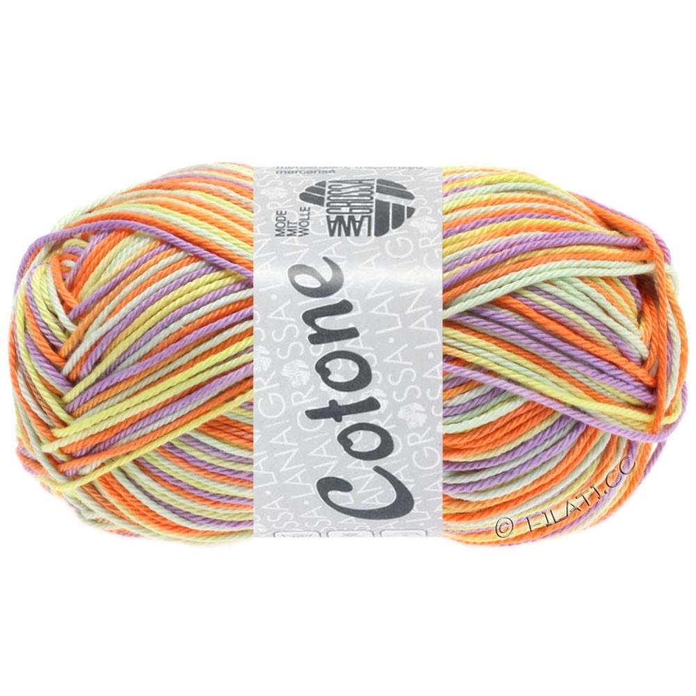 Lana Grossa COTONE  Print/Denim | 325-ванильный/пурпурный/оранжевый/бледно-зелёный